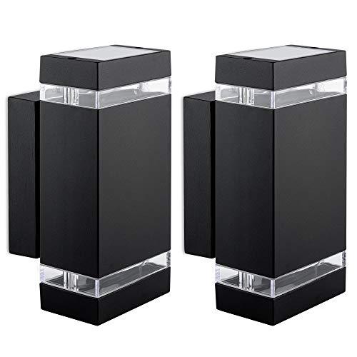2 Stück LED Wandlampe Up & Down - inkl. 4x LED Leuchtmittel 5W 230V GU10 in warmweiß - Außenwandleuchte IP44 modern schwarz
