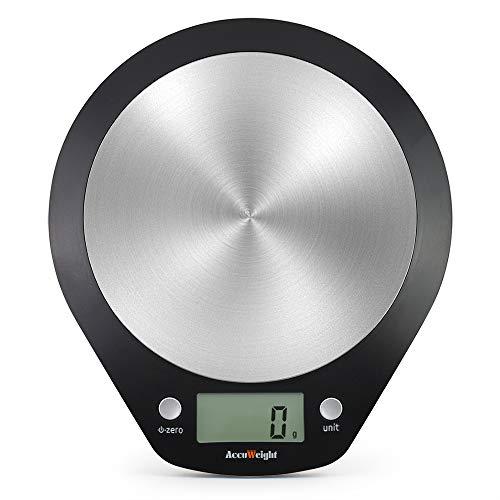 ACCUWEIGHT AW-KS003 Digitale Küchenwaage Haushaltswaage Digitalwaage elektronische Waage mit LCD Dislay, 5 kg, Edelstahl, Inkl. Batterie