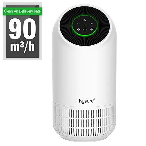 Hysure Luftreiniger Air Purifier mit HEPA-Kombifilter und Aktivkohlefilter 3-Stufen-Filterung für 99,97% Timing LED Nachtlicht, Luftreinigungsgerät perfekt für Allergiker und Raucher