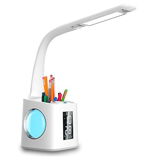 Wanjiaone 10W Dimmbar Led Schreibtischlampe kinder, Augenschutz Stifthalter Tischleuchte mit Touchfeld für Nachtlicht und 3 Helligkeitsstufen, Schwanenhals Schreibtischlampe mit LCD Display für Studie, Leselampe, USB-Anschluss, Weiß