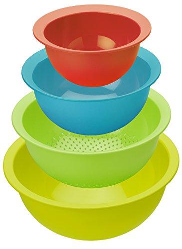 Rotho 1161799998 Küchenset 'Caruba' aus 3 Rührschüsseln und 1 Küchensieb, Inhalt 1-4,8 L, Durchmesser 18,5-30 cm, 4 Einheiten, Kunststoff, mehrfarbig, 30 x 30 x 13 cm