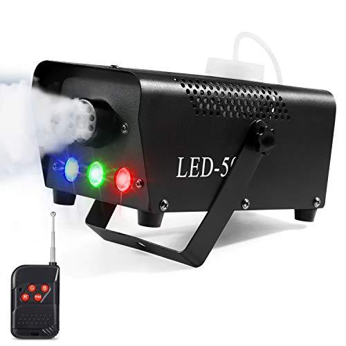 Nebelmaschine, AGPtEK Nebel Maschine mit kabelloser Fernbedienung UND buntes LED Licht, 500 WATT Stabil & Tragbar, Passend für Halloween, Weihnachten, Hochzeitsfeiern & Bühnenauftritte usw -'MEHRWEG'