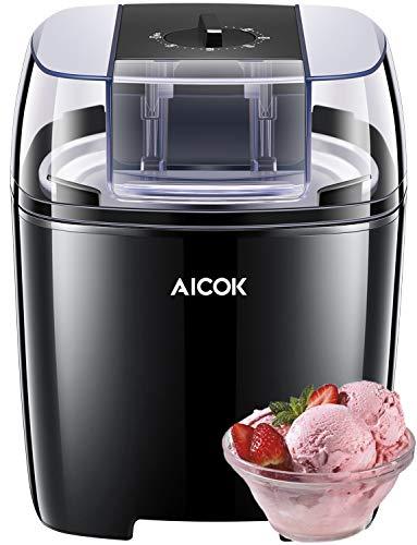 Aicok Eismaschine, 1.5 Liter Speiseeismaschine, Frozen Yoghurt und Sorbetmaschine, BPA-frei mit 30 Mins Timer, Einfache Hausgemachte Eiscreme mit Minikochbuch, Schwarz