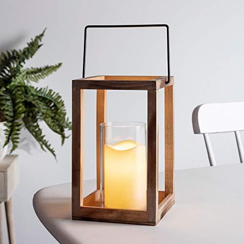 Lights4fun Holz Laterne mit LED Kerze warmweiß Batteriebetrieb Timer 24cm