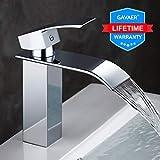 GAVAER Wasserfall Wasserhahn Bad, Elegant Waschtischarmatur, Keramikventil, Kaltes und Heißes Wasser Vorhanden, Messing Verchromt, Lebenslange Garantie.