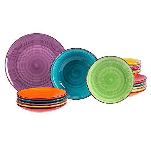 MamboCat 18tlg. Teller-Set bunt | Edles Porzellan-Geschirr | Speiseteller + Suppenteller 750 ml + Kuchenteller | 6 Farben | mediterran | backofentauglich