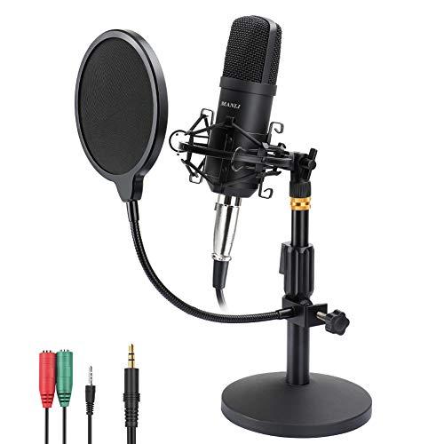 Kondensator Mikrofon, MANLI großmembran kondensator mikrofon omnidirectional kondensator Aufnehmen mikrofone set mit verstellbar Halterung Schwingungsdämpfer kit für Podcast Studio Musik