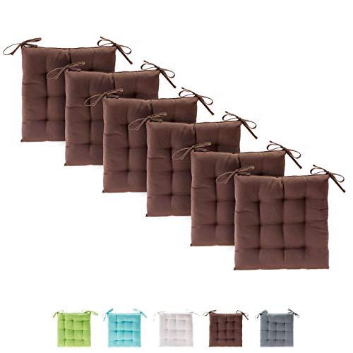 etérea Basic Sitzkissen für Innen- und Außenbereich 40x40 cm Braun 6er Set