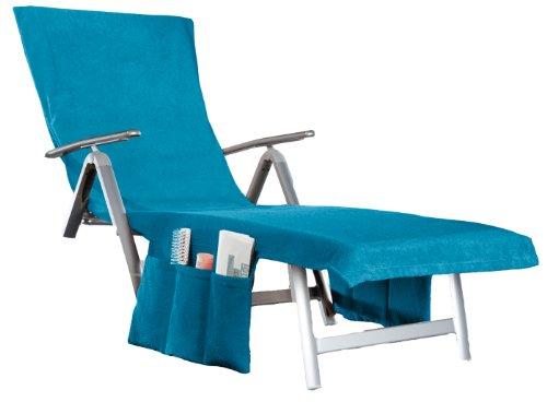 beties 2 in 1 Frottee Liegenauflage Sunny umwandelbar in eine Badetasche + Seitentaschen + Kapuzenüberschlag ca. 70x200 cm Walkfrottee Karibik Blau