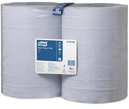 Tork 128408 Standard Papierwischtücher für W1 Bodenständer- und Wandhalter-System / Saugfähige, 2-lagige Putzrollen in Blau / Universal Qualität / 2 x 340 m
