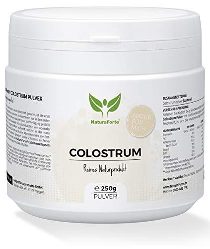 NaturaForte Colostrum-Pulver 250g, Natürliche Erstmilch, Immunoglobulin G, Reich an essentielle Aminosäuren, Vitamine, Mineralstoffe, Unterstützung Immunsystem, Magen-Darm, Hergestellt in Deutschland