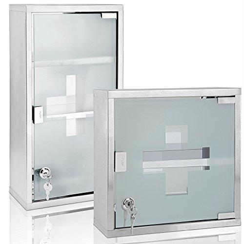 DEUBA Medizinschrank inkl. 2 Schlüssel | Apothekerschrank aus Edelstahl | Hausapotheke 30 x 30 x 12cm | Medikamentenschrank