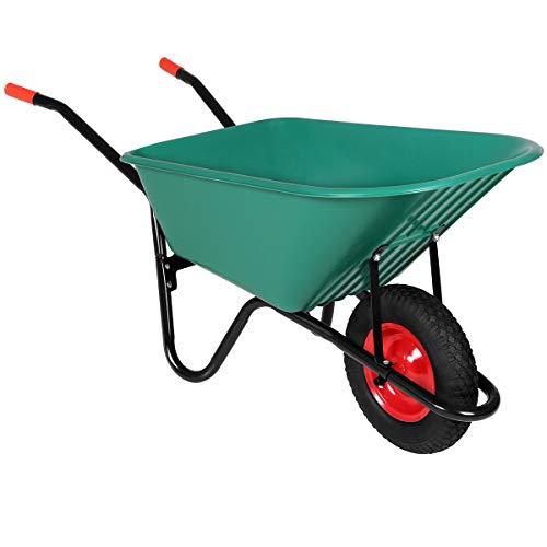 Monzana Schubkarre 100 Liter | Bauschubkarre Gartenschubkarre | bis 150kg Belastbarkeit | Luftreifen | stabile Ausführung mit Kunstoffwanne