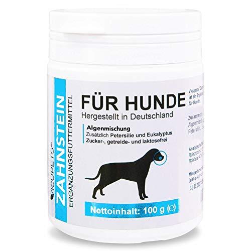 Vicupets Zahnstein 100g Pulver für Hunde | Natürliche Zahnpflege I Reinigung für Zähne & Zahnfleisch I Ergänzungsfuttermittel