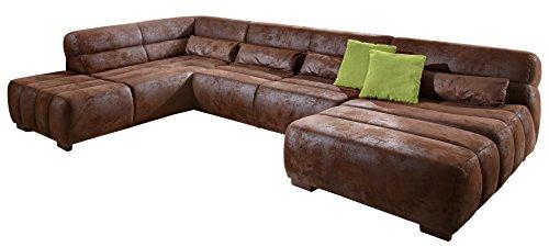 Cavadore Wohnlandschaft Scoutano mit Longchair links und Ottomanen rechts in Antiklederoptik / XXL-Couch in U-Form im Industrial Design / Größe: 363 x 76 x 227 cm (BxHxT) / Bezug in Antik Chocco (braun) / Holzfüße in antik
