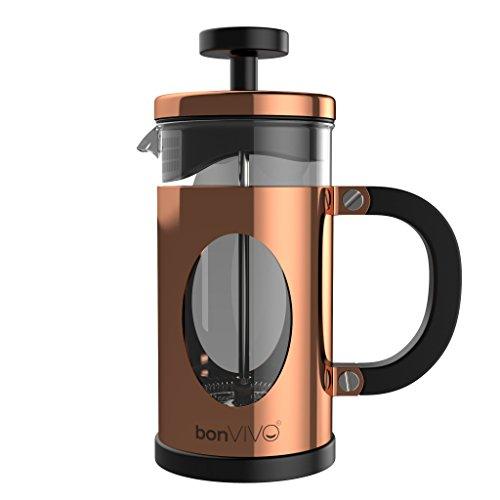bonVIVO GAZETARO I Design-Kaffeebereiter Und French Press Coffee Maker In Kupfer-Optik, Kaffee-Kanne Aus Glas Mit Edelstahl-Rahmen, Kaffee-Presse Mit Edelstahl-Filter, klein, 0,35l / 350ml (3 Tassen)