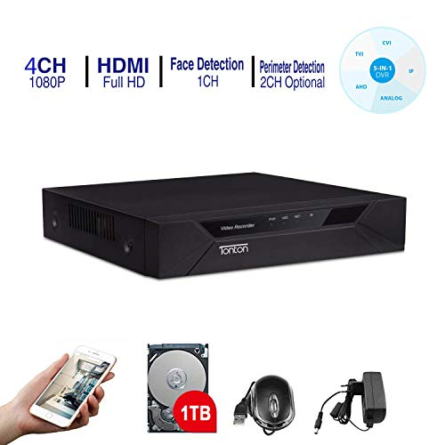 Tonton CCTV 4CH Full HD 1080P DVR Digital Videorecorder Receiver mit 1TB Festplatte, Netzwerk DVR HDMI VGA Ausgang, unterstützt TVI/AHD/CVI/Analog Kamera/IP Kamera und analoge Kamera