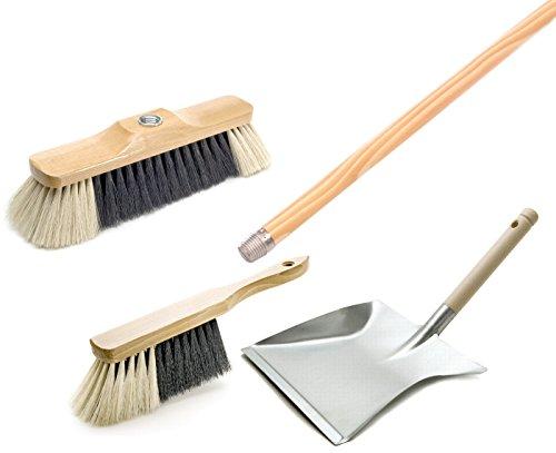BawiTec Profi- Kehrbesen Set Kehrset Besen Schaufel Zimmerbesen Stiel Handfeger