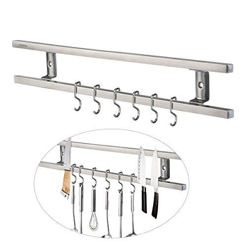 OUNONA Edelstahl Magnet Messerhalter Magnetleiste Magnetischen Wand Montierten Messer Rack Mit 6 Entfernen Haken