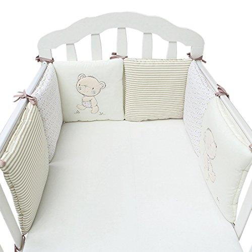 Pinji 6 Stück Baby Nestchen Bettumrandung Kopfschutz Baumwolle für Babybetten je 30 x 30cm, Beige