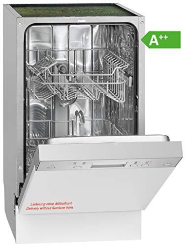 Bomann GSPE 889 Einbau-Geschirrspüler / teilintegriert / 45 cm / EEK A++ / 9 MGD/ 6 Programme / 197 kWh/Jahr / Bedienblende Edelstahl