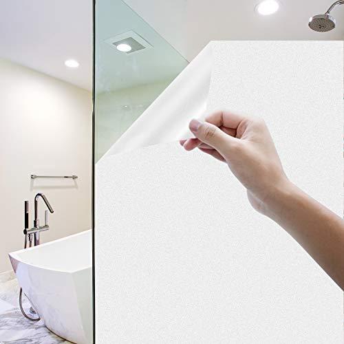 Milchglasfolie Selbstklebend Fenster, Homegoo Fensterfolie Selbsthaftend Blickdicht Statisch Haftende Undurchsichtige Fensterfolie für das Badezimmer zu Hause, Büro 90 x 200 cm (35.4 x78.7 Zoll), Weiß