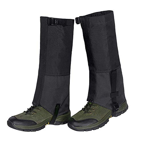 Unigear Outdoor Gamaschen,Wasserdichte Atmungsaktive Bein Gamaschen für zum Wandern, Klettern und Schneewandern Jagd 1 Paar (Schwarz L)