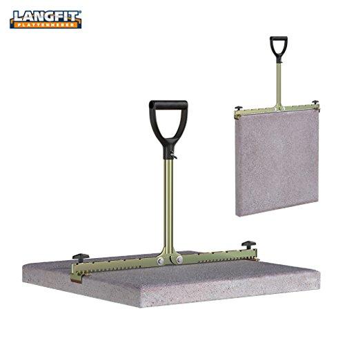 LANGFIT Plattenheber - Rückenfreundlich durch extra langen Griff - 30 bis 62cm - Schonend für Rücken und Hüfte! Tragkraft bis 60kg - Made in Germany - MS-PH2062L