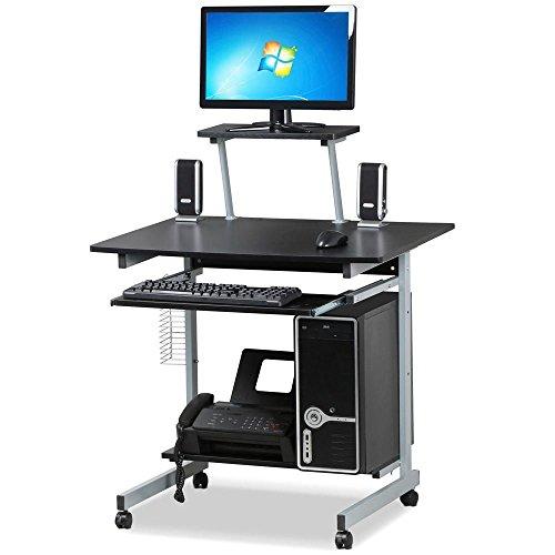 Yaheetech Schreibtisch mit CD Regal Computertisch schwarz PC Tisch mit 4 Rollen 80 x 60 x 100 cm