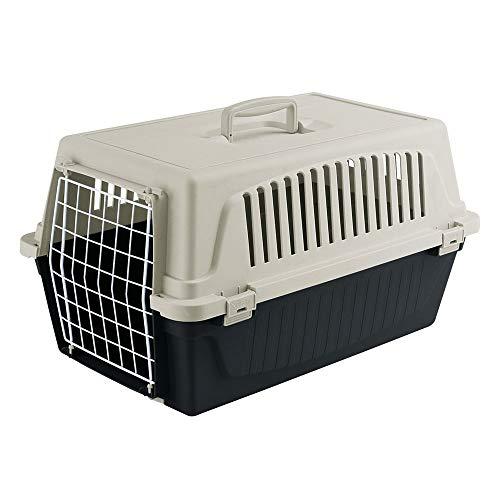 Ferplast Transportbox Atlas 20 für Hunde und Katzen bis zu 8 kg - Stabile Tragebox in Schwarz mit Weiß - inkl. ergonomischem Griff - Maße: 58 x 37 x 32 cm