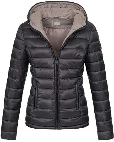 Marikoo Damen Jacke Steppjacke Übergangsjacke gesteppt B651 [B651-Luc-Schwarz-Gr.S]