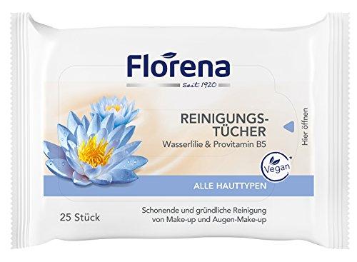 Florena Reinigungstücher mit Wasserlilie & Provitamin B5, Vegan, 1er Pack, (1 x 25 Stück)