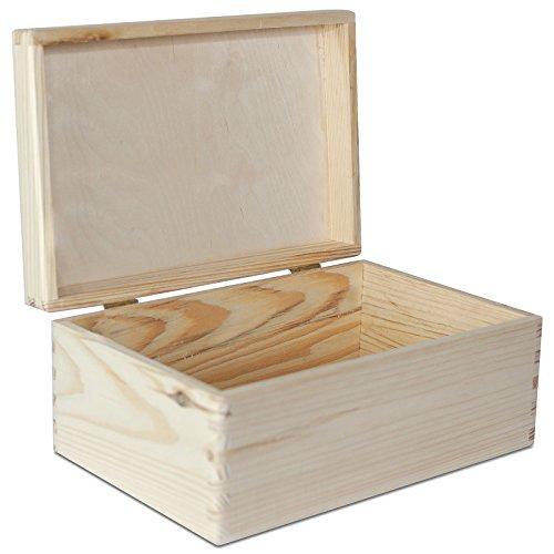 Große Holzkiste mit Deckel Holzbox Erinnerungsbox - 30 x 20 x 14 cm - Kiste Aufbewahrungsbox Spielzeugkiste Unlackiert Kasten - ohne Griffen - Ideal für Wertsachen, Spielzeuge und Werkzeuge