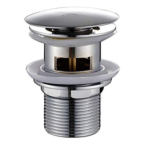 AuraLum Ablaufgarnitur waschbecken bad| waschbeckenablauf für den Waschtisch Pop Up Ablaufventil mit Überlauf Push-Open-Technik Stöpsel Waschspüle, Runde-Form