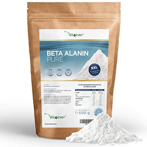 Beta Alanin Pure - 600 g reines Pulver ohne Zusätze - Laborgeprüft -+99% Reinheit - 100% Beta Alanine Aminosäure - 120 Portionen - Vegan ohne Zusätze - Premium Qualität - Vit4ever