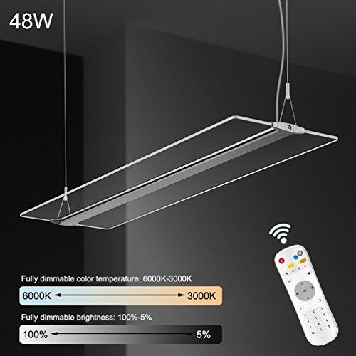 KJLARS LED Pendelleuchte 48W Dimmbar Hoehenverstellbar Hängeleuchte Pendellampe für Büro LED Panel Hängelampe, für esstisch Büroleuchte Schlafzimmerleuchte Wohnzimmerlampe