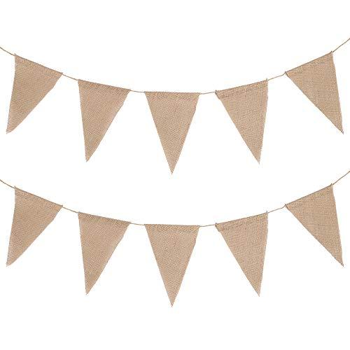 Enjoygoeu Wimpelkette Vintage Hochzeit 10M 48 Wimpel Jute Bunting Banner Girlande Rustikal für Draußen und Zimmerdeko
