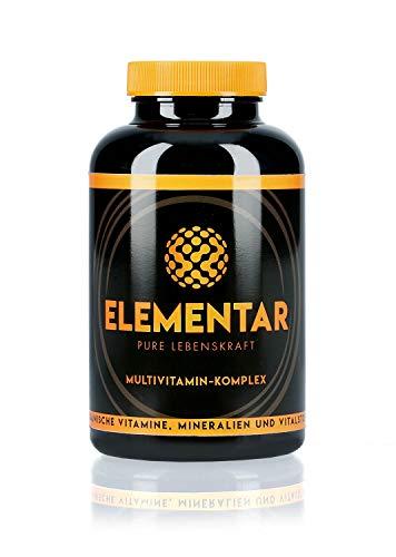 ELEMENTAR | Multivitamin - Komplex | Hochdosiert | Natürlich und organisch | Vitamine, Antioxidantien, Mineralien, Vitalstoffe, Aminosäuren | 300 Kapseln | Made in Germany