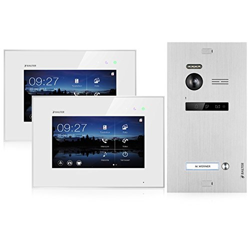BALTER EVO Video-Türsprechanlage  2 x Touchscreen 7 Zoll Monitor  2-Draht BUS  Türstation für 1 Familienhaus  150° Weitwinkel-Kamera