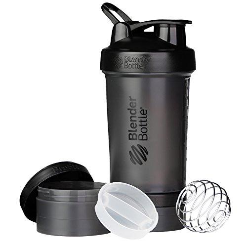 BlenderBottle Prostak Protein Shaker / Diät Shaker  (650ml, skaliert bis 450ml, mit 2 Container 150ml & 100ml, 1 Pillenfach) Schwarz