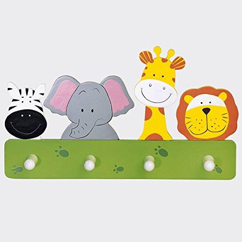 babywalz Garderobe Tiere - Kindergarderobe aus Holz - Kleiderhaken mit Tierfiguren fürs Kinderzimmer - mit Aufhängevorrichtung - bunt