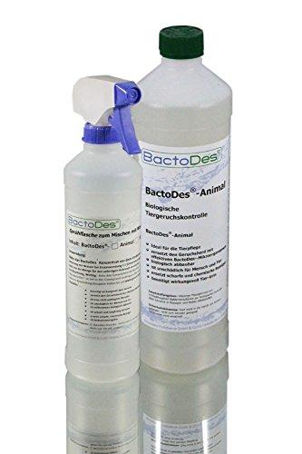BactoDes Animal -1 Liter Tier-Geruchsentferner, Geruchskiller-Konzentrat zum Verdünnen - inkl. Mischflasche - beseitigt Tieruringeruch, Katzenuringeruch, Tiergeruch, Katzenurin, Hundeurin, Kleintiergeruch, dauerhaft - ein echter Geruchsvernichter für die dauerhafte Geruchsbeseitigung