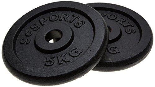 ScSPORTS Scheibenset mit 30 mm Bohrung, 10 kg, Guss, 2 x 5 kg