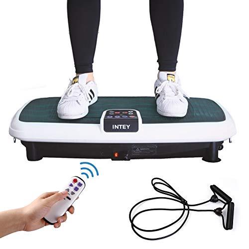 INTEY Vibrationsplatte Vibrationsgerät für Ganzkörper Traningsgerät mit 2 Expandern und Fernbedienung, Vibrationstrainer bis zu 120Kg belastbar