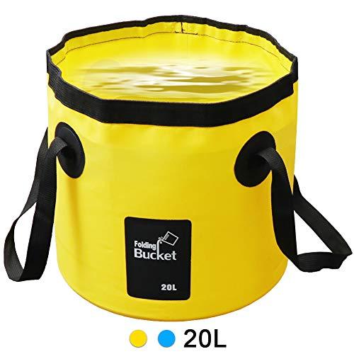 LIVEHITOP Falteimer Faltschüssel 20L - Tragbarer Faltbarer Eimer Wasserträger Wasserkanister für Camping, Angeln, Picknick, Outdoor, Yellow