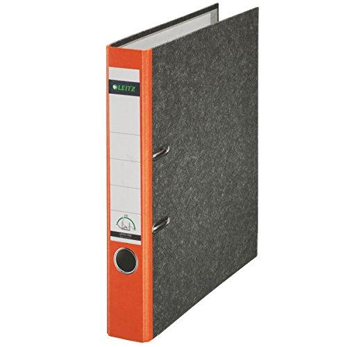 Leitz 10505045 Qualitäts-Ordner (Wolkenmarmor-Papier, A4, 5,2 cm Rückenbreite) orange