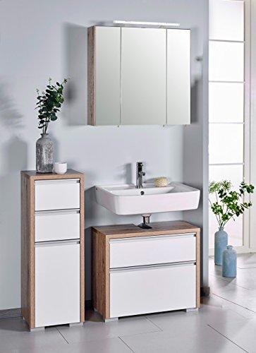 Schildmeyer Bello Badmöbel Set 3-teilig, 701226, Wildeiche Dekor / Weiß Glanz