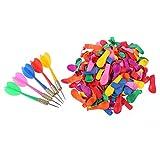 STOBOK 10 Stücke Kunststoff Dartpfeile Metallspitze und 500 Stücke Latex Ballon Dartspiel für Kinderparty