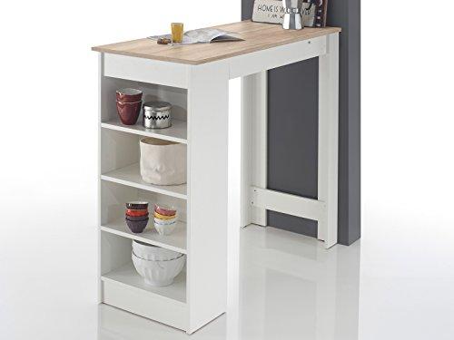 Bartisch Esstisch Tresentisch Küchentisch Bistrotisch Tisch 'Rosalyn I' Sonoma-Eiche/Weiß