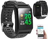 newgen medicals Smartwatch: Fitness-GPS-Armbanduhr, Herzfrequenz-Anzeige, Farb-Display, App, IP68 (Fitnessarmband mit Herzfrequenz)